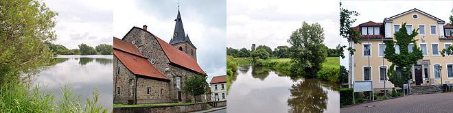 Impressionen aus Pattensen: Koldinger Teiche, St. Lukas Kirche, Leine, Rathaus