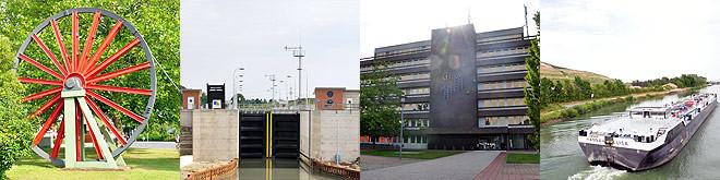 """Impressionen aus Sehne: Letzte Seilscheibe des Kaliwerks Friedrichshall, Bolzumer Schleuse, Rathaus, Schiff auf den Mittelllandkanal, im Hintergrund der """"Kalimanscharo"""""""
